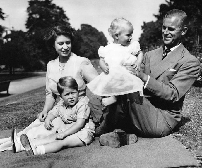Elizabeth and Philip with their first two children, Prince Charles and Princess Anne.