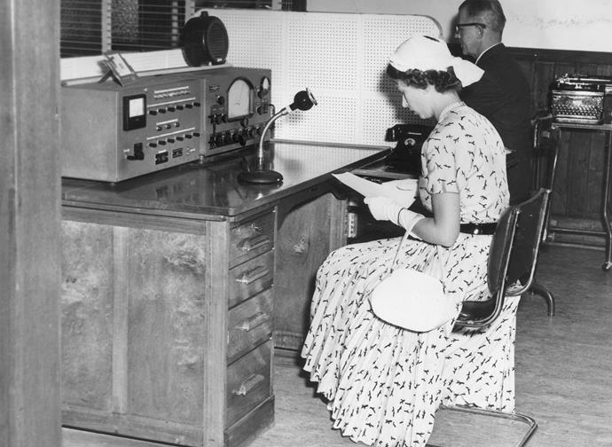 Queen Elizabeth broadcasting live from a station in New South Wales' Broken Hill.