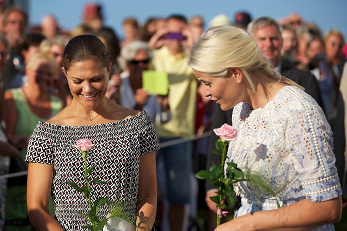 Crown Princess Victoria of Sweden and Crown Princess Mette-Marit of Norway take Part in Climate Pilgrimage on August 22 in Sweden.