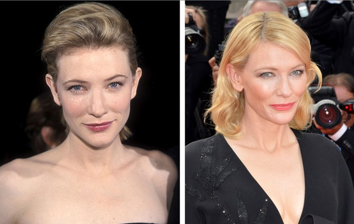 Cate Blanchett, 46, is coveted for her flawless skin. Here the Oscar-winner is in 1998 and again in 2015.