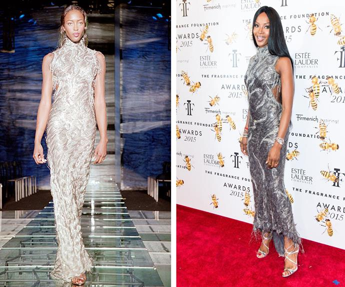 Naomi Campbell, 45 looking flawless in a Versace gown she first wore in 1998 - then aged 28.