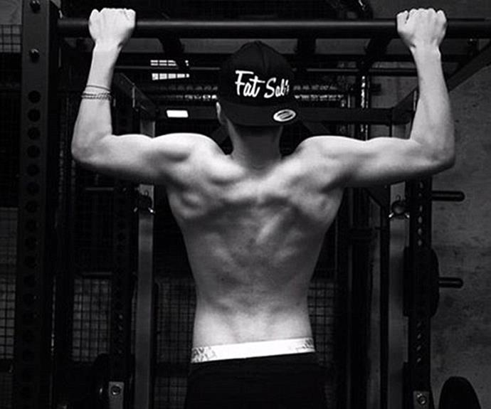 "Brooklyn Beckham, 16, posted a shirtless picture of himself doing some pull-ups and captioned the shot: ""Working out."""