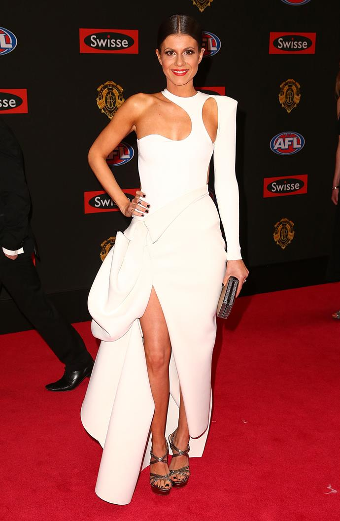 Jordan Paplia, partner of Gary Ablett, in a structured white gown.