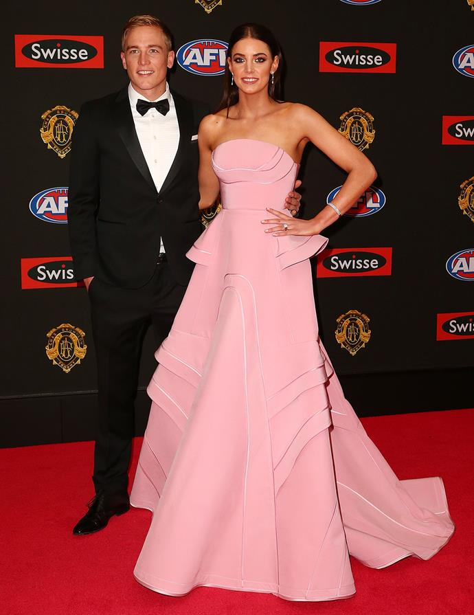 Abbie Noonan, wife of Bernie Vince, stuns in a pink gown.
