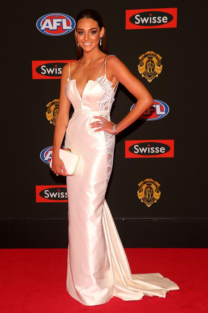 Dani Shreeve, the partner of Jack Gunston of Hawthorn, in a ivory gown.