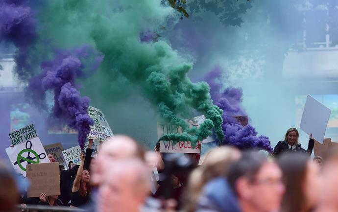 The protesters let off green and purple smoke bombs at the event last night.