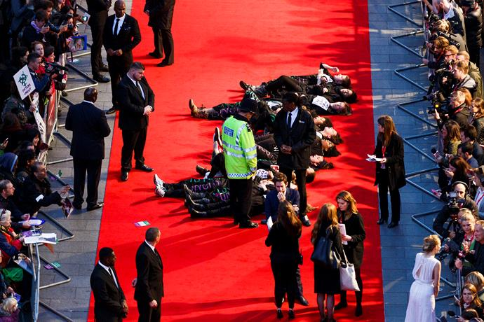 Several of the protesters also staged a lie in on the red carpet.