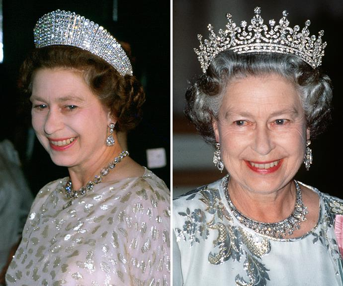 Princess Margaret's Papyrus Tiara and the Queen's favourite Girls of Great Britain and Ireland Tiara.