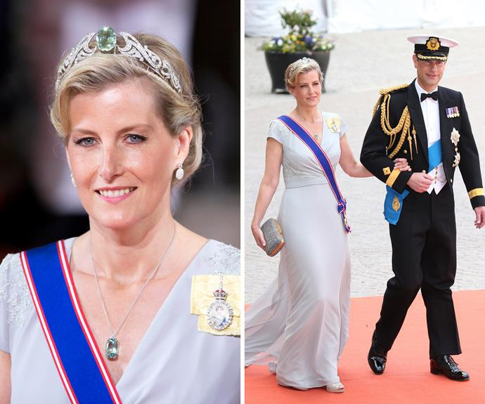 Sophie, Countess of Wessex, isn't afraid to shine! The Queen lent her this stunning tiara for a wedding recently!