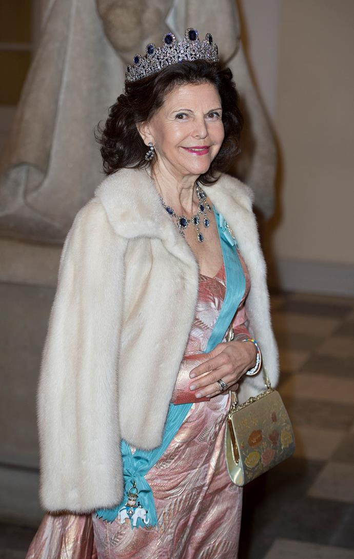 Queen Silvia of Sweden wore The Leuchtenberg Sapphire Parure, which is made up of 11 sapphires and surrounding diamonds, to Queen Margrethe's birthday celebrations.