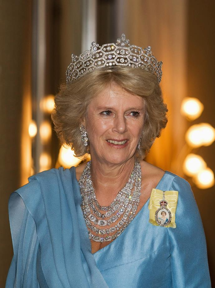 Camilla, Duchess of Cornwall, isn't afraid of some sparkle! She often wears this huge tiara!