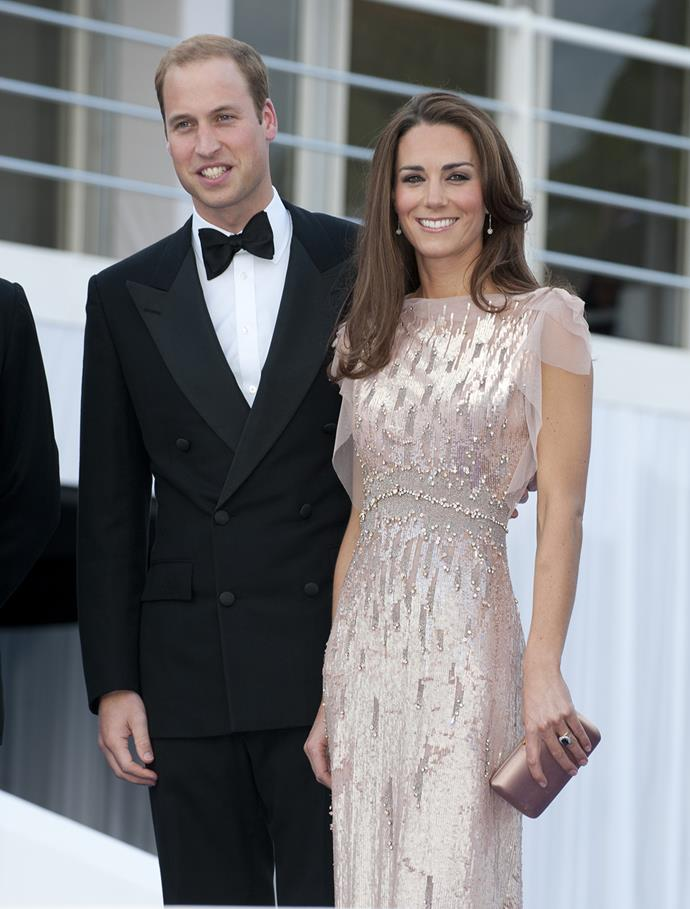 Pretty in pink! Kate wore this stunning pale pink sequined dress to a gala not long ago.