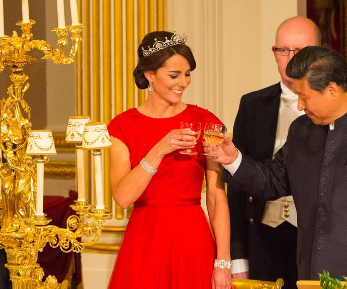Kate had her first go at putting on the ritz on Wednesday, when she donned a tiara, two glittering diamond bracelet and, of course, her engagement ring.