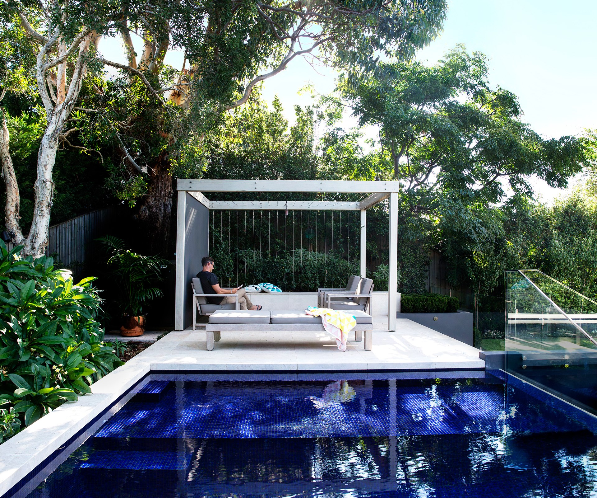 "If you want to transform your whole backyard by putting in a new pool, take a look at this [garden in Northern Sydney](http://www.homestolove.com.au/holiday-at-home-northern-sydney-garden-1915/|target=""_blank""), which interconnects leisure 'zones' to create that holiday-at-home feeling for the homeowners. Photo: Jason Busch / *Australian House & Garden*"