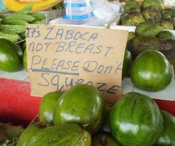 Please don't squeeze the zabocas!