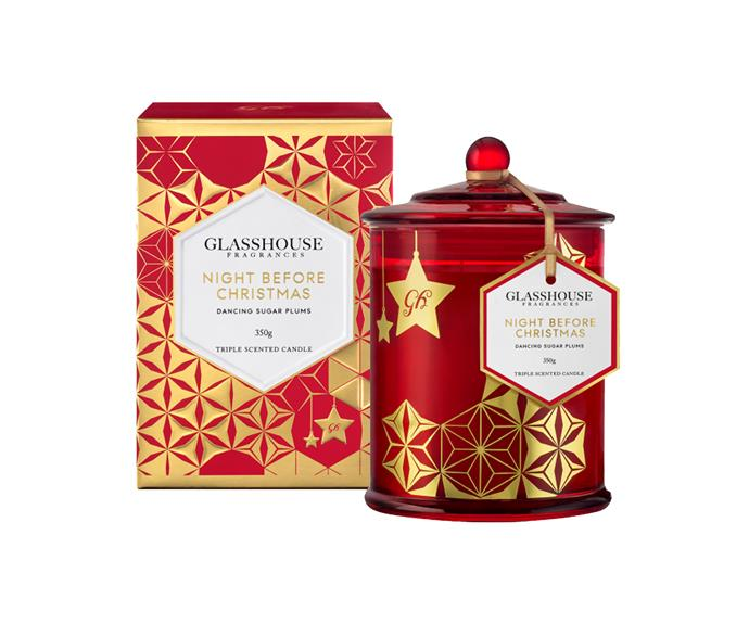 This limited edition candle, which combines Blackcurrant, Plum, Lemon and Lavender, has a beautiful box illustrated by fashion illustrator, Megan Hess. **$44.95** [Glasshouse Fragrances](http://www.glasshousefragrances.com/night-before-christmas-candle-2015.html)