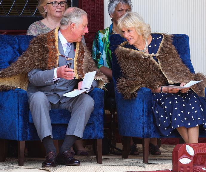 The Duke and Duchess of Cornwall dressed in their korowai.