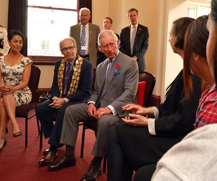 Prince Charles meets the Auckland mayor, Len Brown.