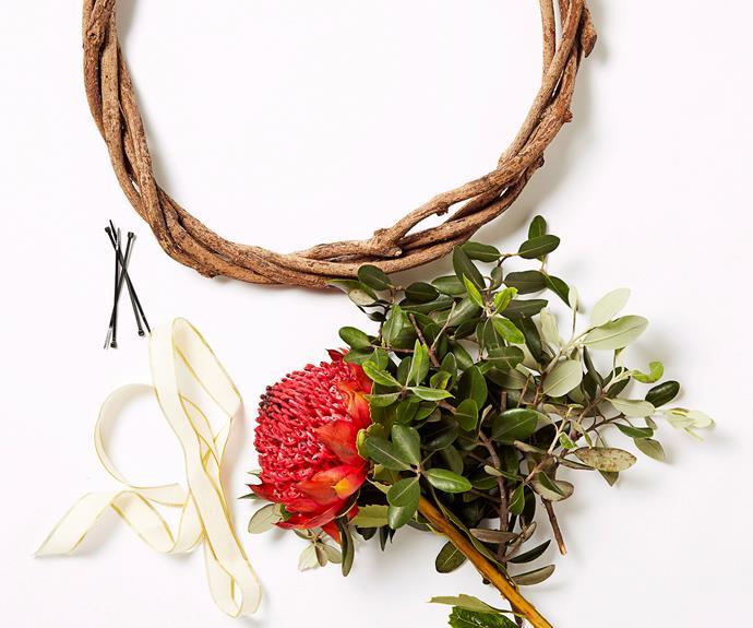 "**Christmas craft: fresh flower wreath.** How to [here](http://www.aww.com.au/christmas/christmas/christmas-craft-fresh-flower-wreath-10376|target=""_blank"")."