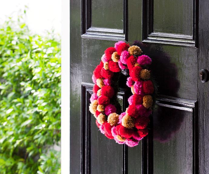 "**Create this stunning Pompom wreath.** How to [here](http://www.aww.com.au/christmas/christmas/create-this-stunning-pompom-wreath-10333|target=""_blank"")."