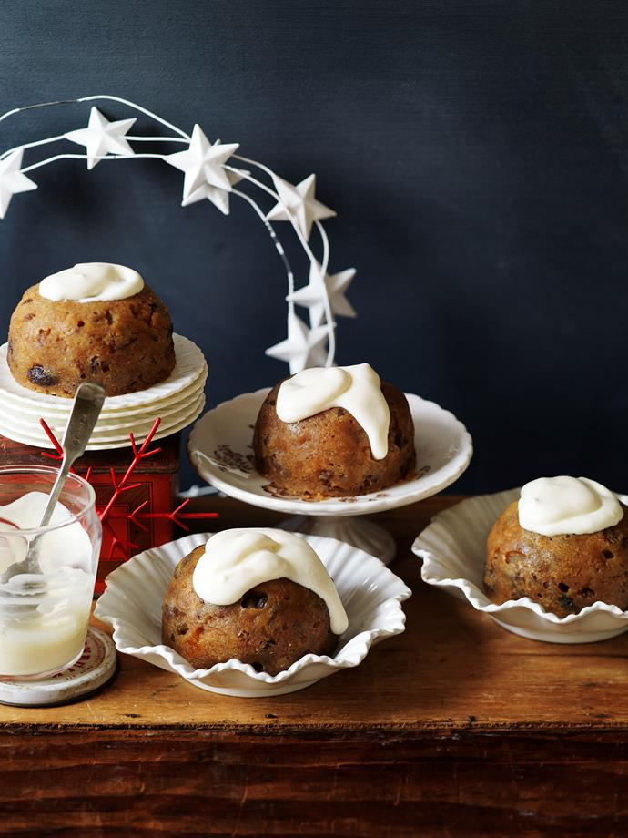 """**The Weekly's Microwave Christmas Pudding**  *Serves 6, prep and cook time 50 minutes (makes 3½ cups (875ml) brandy sauce)*  125g butter ¾ cup (150g) firmly packed dark brown sugar 2 eggs 2 teaspoons golden syrup 1¼ cups (250g) dried mixed fruit ½ cup (110g) canned pie apples ¾ cup (110g) plain flour 1 teaspoon mixed spice 1 cup (70g) stale breadcrumbs ¼ cup (60ml) sweet sherry  Brandy cream sauce: 300ml thickened cream ¼ cup (60ml) brandy 2 eggs, separated ½ cup (110g) caster sugar  1.Brandy cream sauce: Beat cream and brandy in medium bowl with electric mixer until soft peaks form. Beat egg and sugar in small bowl with electric mixer until thick and creamy. Fold egg mixture into cream mixture.  2.Grease 6 x 1 cup (250ml) capacity microwave-safe bowls.  3.Beat butter and sugar in small bowl with electric mixer until light and fluffy. Add eggs, one at a time, beating well between additions; beat in golden syrup.  4.Stir in fruit, pie apples, sifted flour and spice, breadcrumbs and sherry. Divide mixture between prepared bowls. Cook, uncovered, on LOW (30% power) for about 30 minutes or until cooked when a wooden skewer comes out clean. Turn out onto serving plate. Serve immediately with brandy cream sauce.  Test kitchen tips: This pudding can be made a week ahead. Store, covered, in the refrigerator for a week, or in the freezer for 2 months. Brandy cream sauce can be made a day ahead, cover, refrigerate. If you would like the pudding to achieve a richer, darker colour add one or two teaspoons of Parisian essence when adding the golden syrup.  *Christmas Cakes and Puddings* from [www.womensweeklycookbooks.com.au](http://womensweeklycookbooks.com/Category/aww-christmas-cookbooks