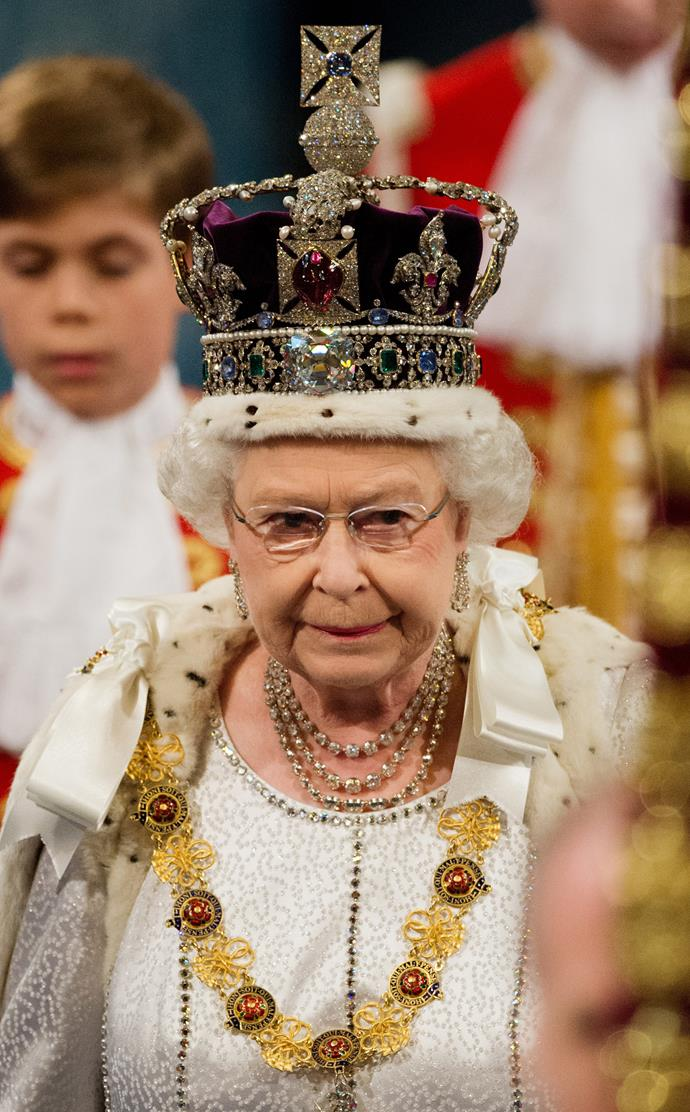 If the Imperial State Crown isn't available (it is usually on display at the Tower of London), the Queen practises for the State Opening of Parliament with a sack of flour on her head of equivalent weight.