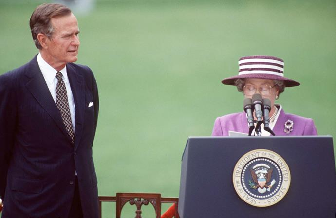 After arriving in America for a state visit in 1991, the Queen found herself struggling to see over the top of a podium as she delivered her speech. President George Bush Sr had been asked to pull out a small platform for the Queen to stand on. But as he forgot, all the crowd could see was 'a talking hat'.