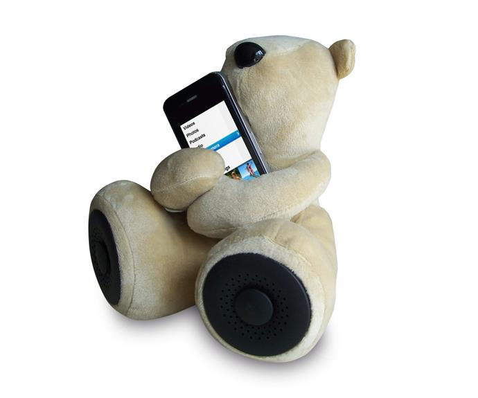 """This [Portable Teddy Bear Amplified Speaker, $29,](http://www.dicksmith.com.au/speakers/portable-teddy-bear-amplified-speaker-blue-dsau-se8012