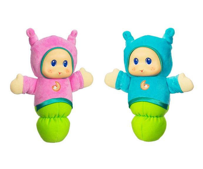 """These sweet [Gloworms, $15,](https://www.bigw.com.au/product/playskool-gloworm-assorted/p/WCC100000000230998/