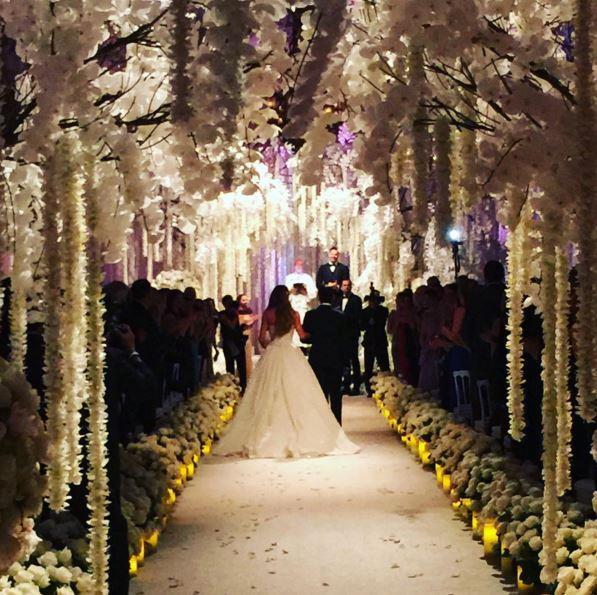 Sofia's 23-year-old son Manolo walked her down the aisle.