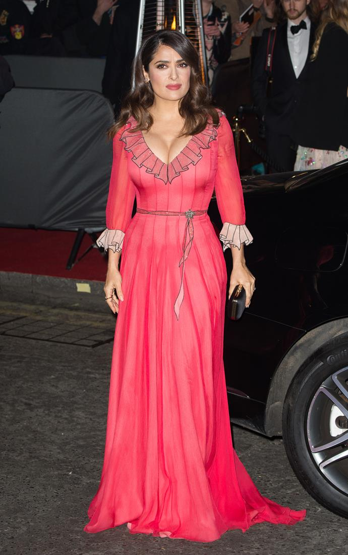 """Fans branded Salma Hayek's dress """"too frilly and fussy""""."""