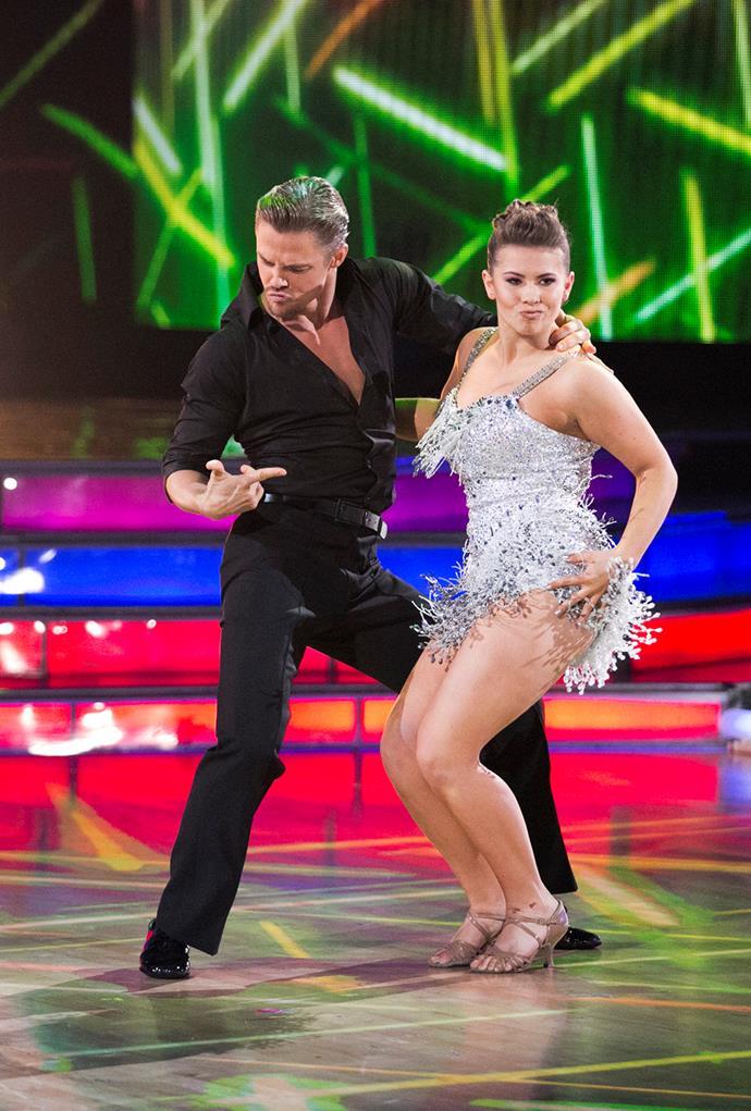 Dancing up a storm with her partner, Derek Hough.