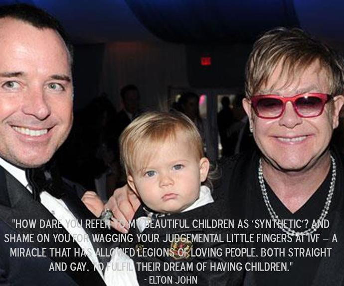 Elton John lashing out at Dolce & Gabbana after the designers' comments about IVF.