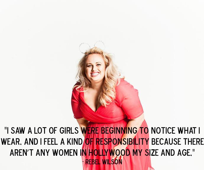 Rebel Wilson speaking to *Elle* about being a role model.
