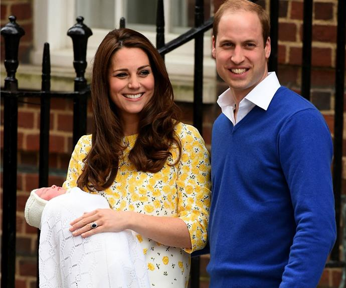 """**2 May - Prince William and Catherine:** """"Her Royal Highness The Duchess of Cambridge was safely delivered of a daughter at 8.34am."""" The couple later announced the baby's name, Charlotte Elizabeth Diana."""