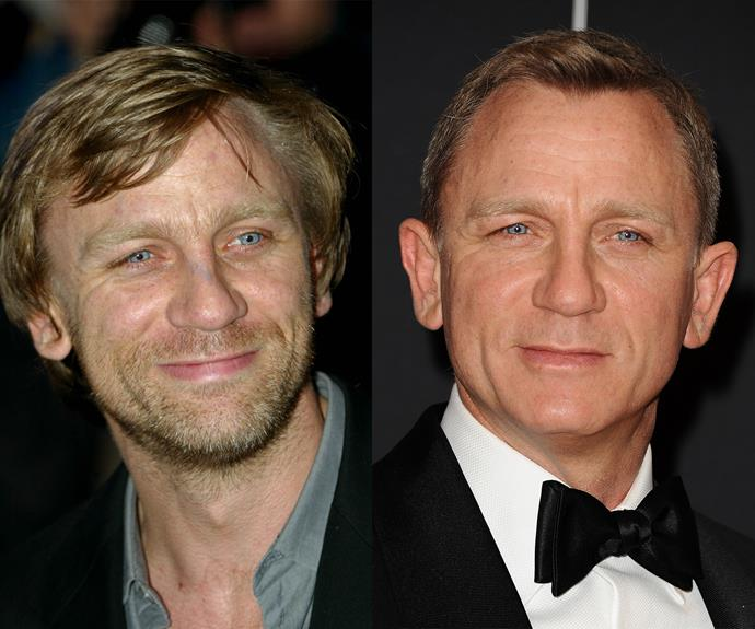 Daniel Craig in 2002 and 2012.