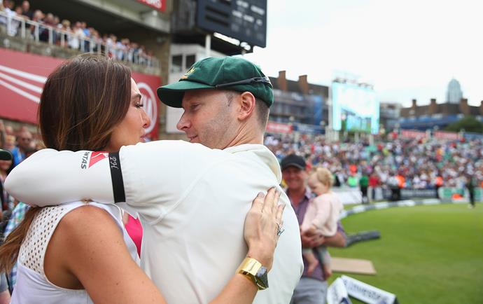 Clarke and wife, Kyly, embrace after the former Australian cricket captain played his final test.