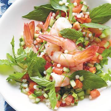 "Didn't eat all your [prawns](https://www.aldi.com.au/en/special-buys/christmas/food-and-drink/mains/mains-detail/ps/p/ocean-royale-extra-large-australian-tiger-prawns/|target=""_blank"")? No worries: [Prawn salad with pearl couscous](http://www.foodtolove.com.au/recipes/prawn-salad-with-pearl-couscous-31067