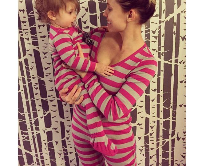 """What's cuter than a freshly-washed babe in a onesie? Her mama wearing one too! #twinning Photo via [@ang_byrne](http://instagram.com/ang_byrne
