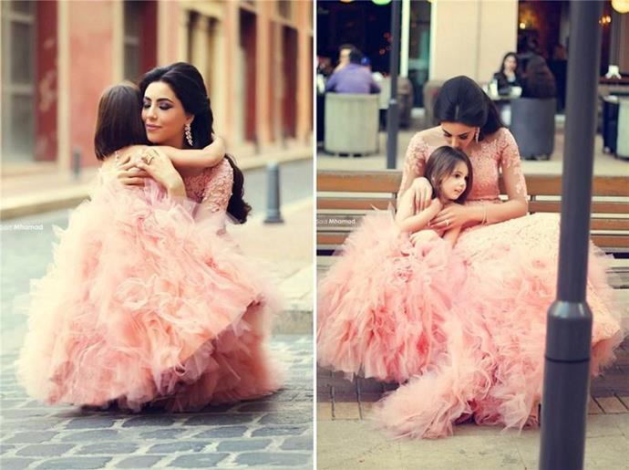 What little girl doesn't want to cuddle her mum amidst a sea of pink tulle?!
