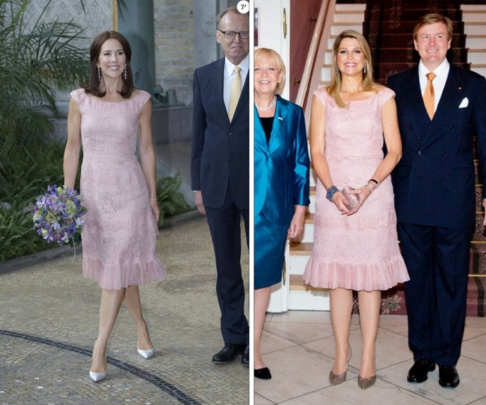 Princess Mary and Queen Maxima both looked gorgeous in this soft pink Valentino dress.