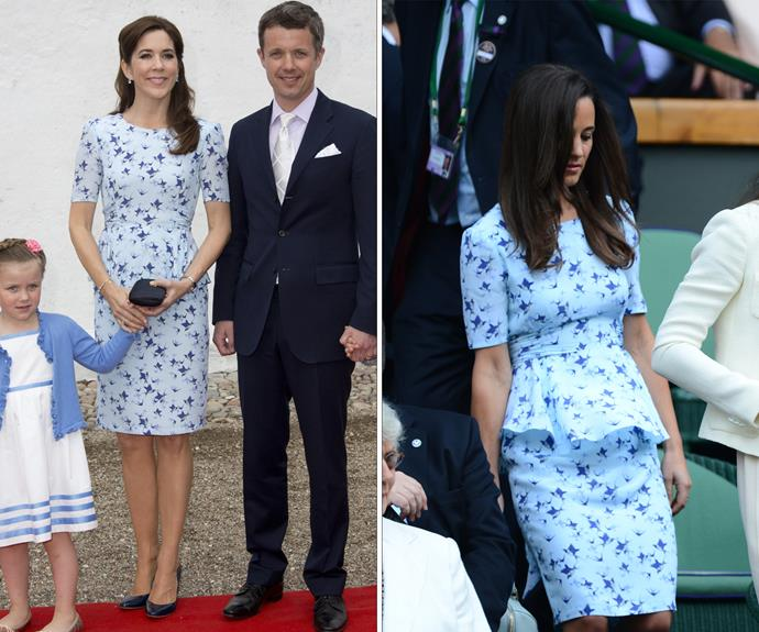 Princess Mary and Duchess Catherine's sister, Pippa, both wore this pretty bird-print dress with peplum detail.
