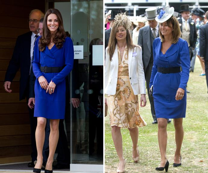 Kate has also done a bit of dress-sharing with her fabulous mum! Both her and Carole wore this chic blue coat-dress.
