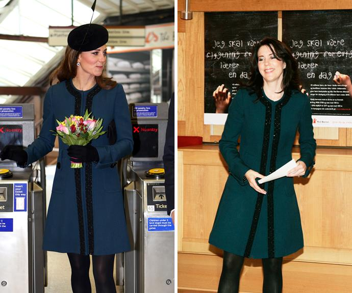 Duchess Catherine and Princess Mary looked chic in this fit and flare coat.