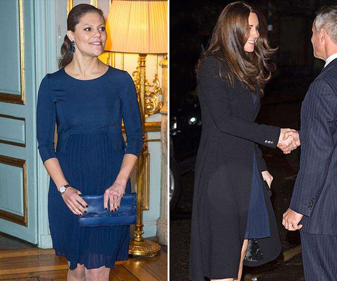 Crown Princess Victoria of Sweden, who is currently pregnant with her second child, channeled her English counterpart, Duchess Catherine, in this royal blue Seraphine pleated dress.