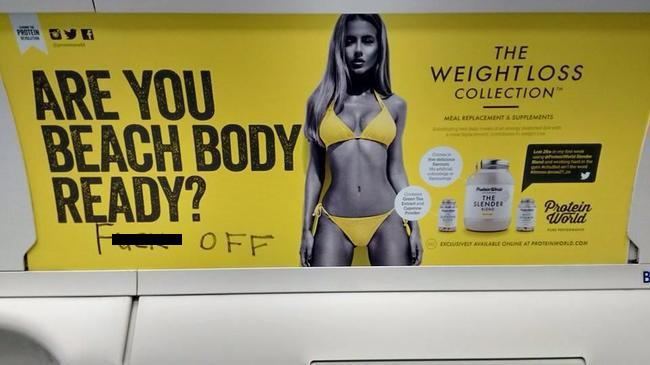 The best part of this ad was added post printing, reportedly by a commuter on a train.