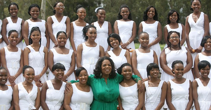 The first graduates of the Oprah Winfrey Leadership Academy for Girls in 2015, a school which Winfrey statred in 2000.