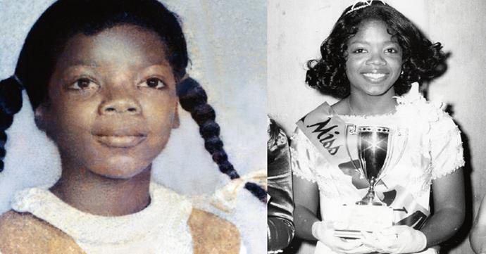 Oprah as a young girl (left) and as the winner of a beauty pageant in 1971, at a time when she felt she had to take charge of her destiny.