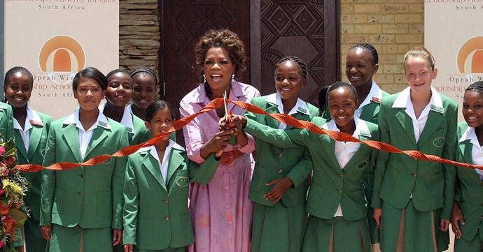 Oprah opening the Oprah Winfrey Leadership Academy in 2007.