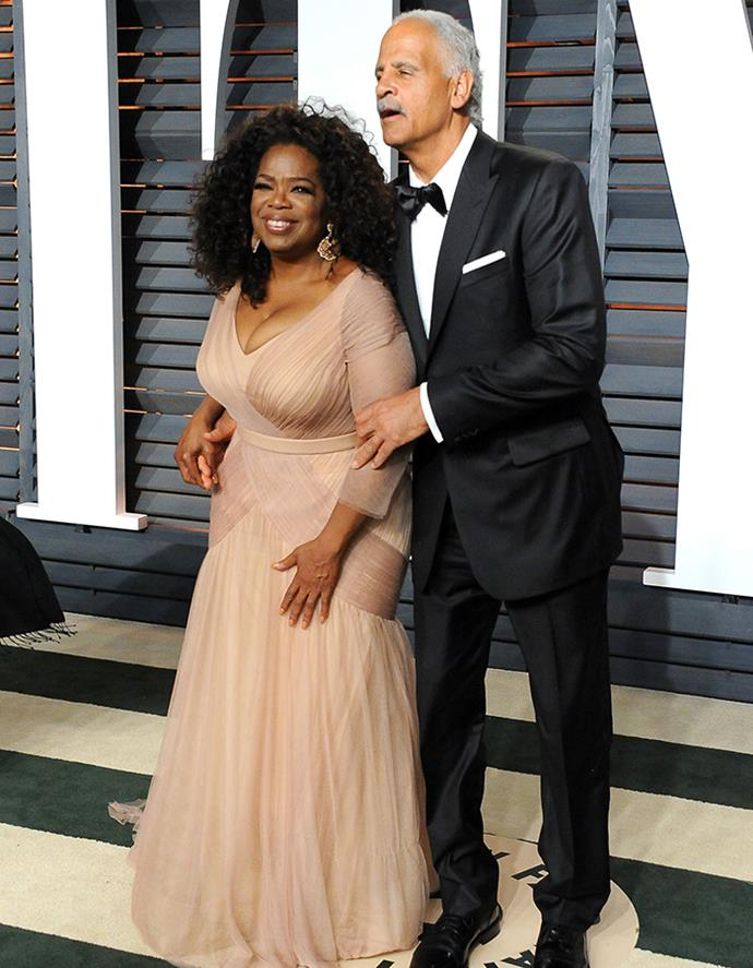 Oprah with her long-term partner of almost 30 years Stedman Graham at the 2015 Academy Awards.